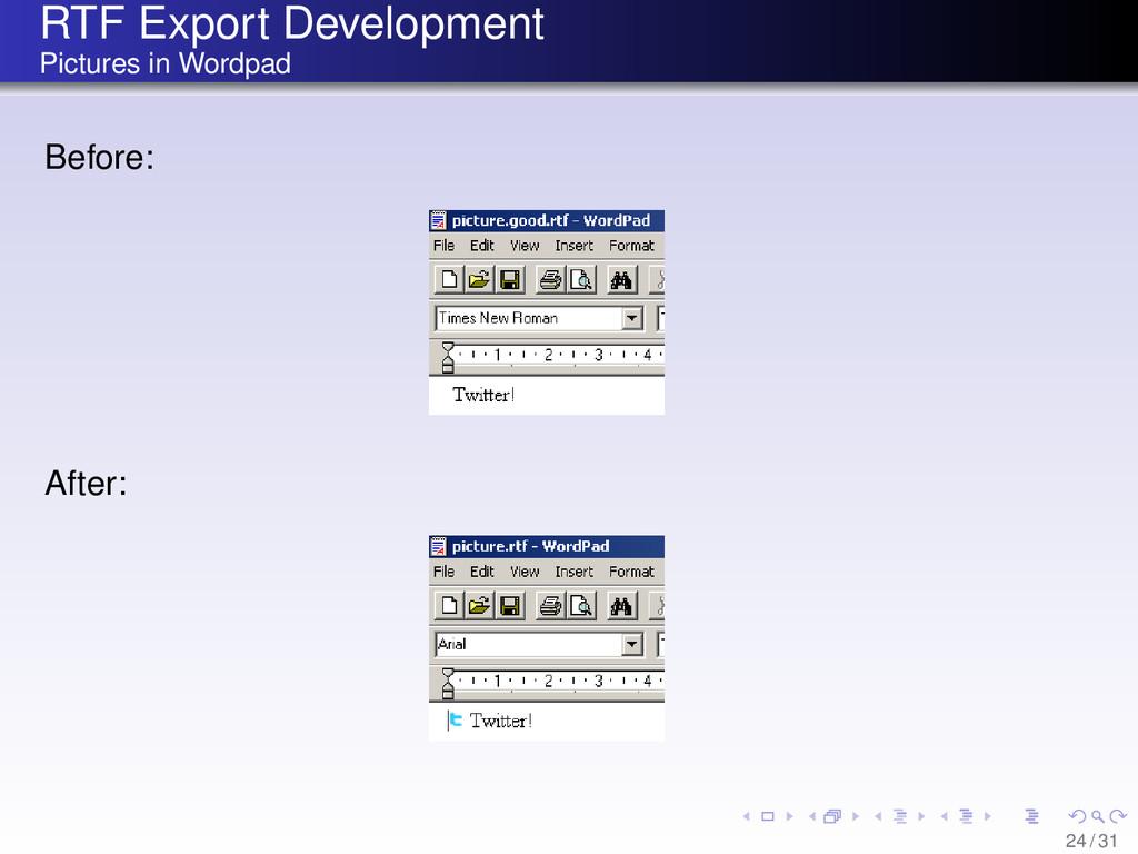 RTF Export Development Pictures in Wordpad Befo...