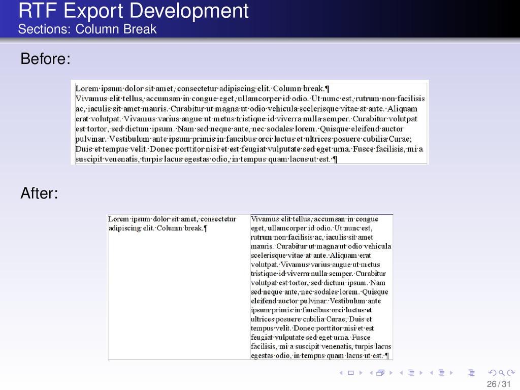 RTF Export Development Sections: Column Break B...