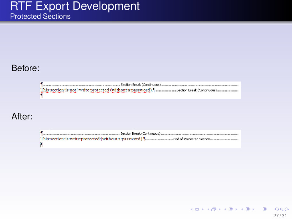 RTF Export Development Protected Sections Befor...