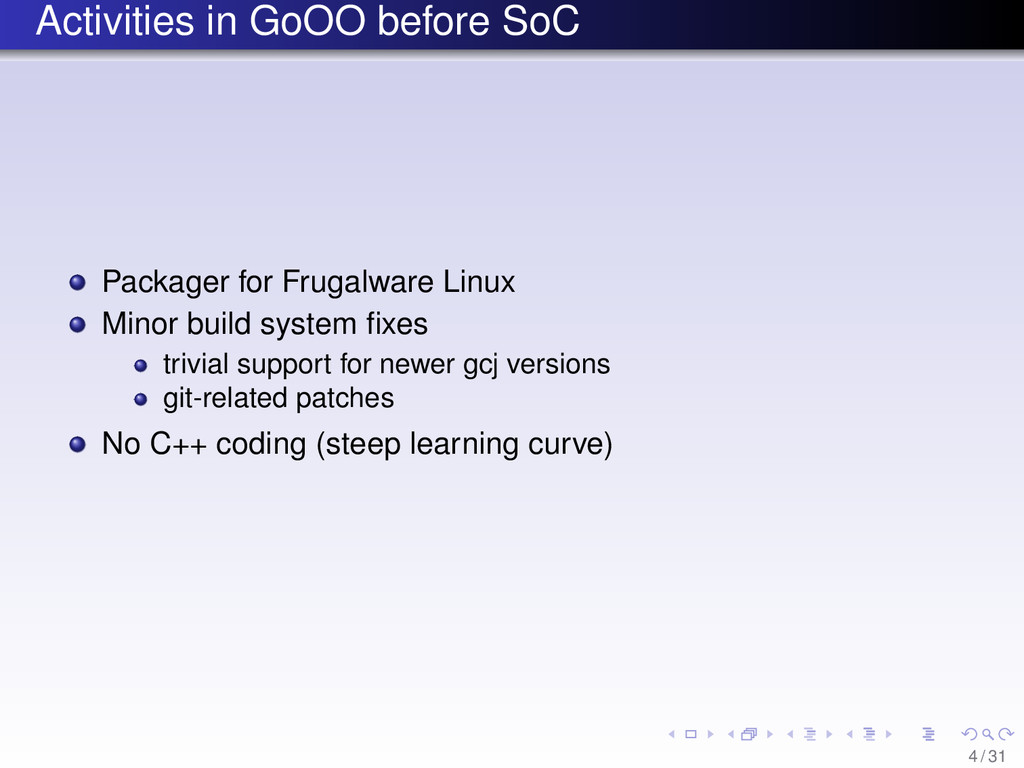 Activities in GoOO before SoC Packager for Frug...