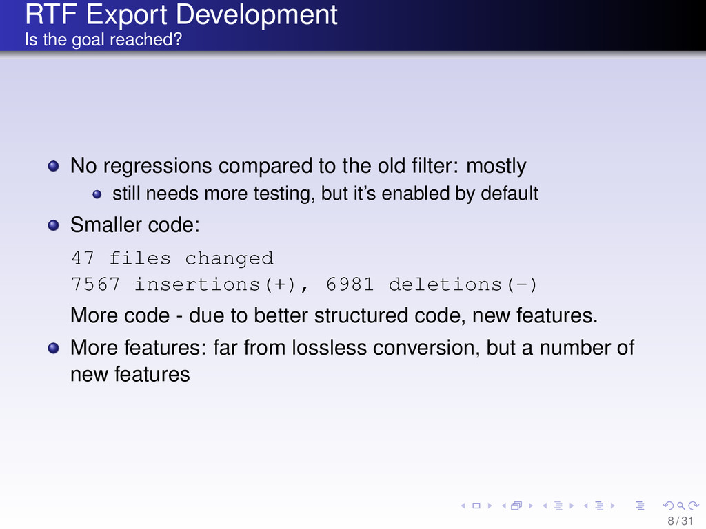 RTF Export Development Is the goal reached? No ...