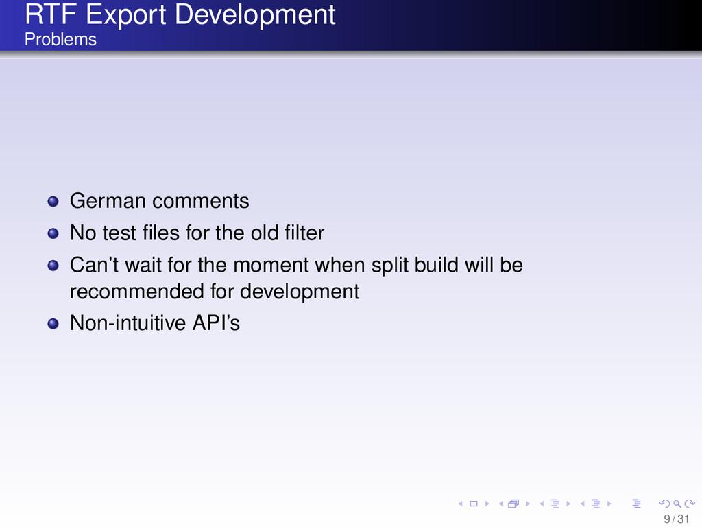 RTF Export Development Problems German comments...