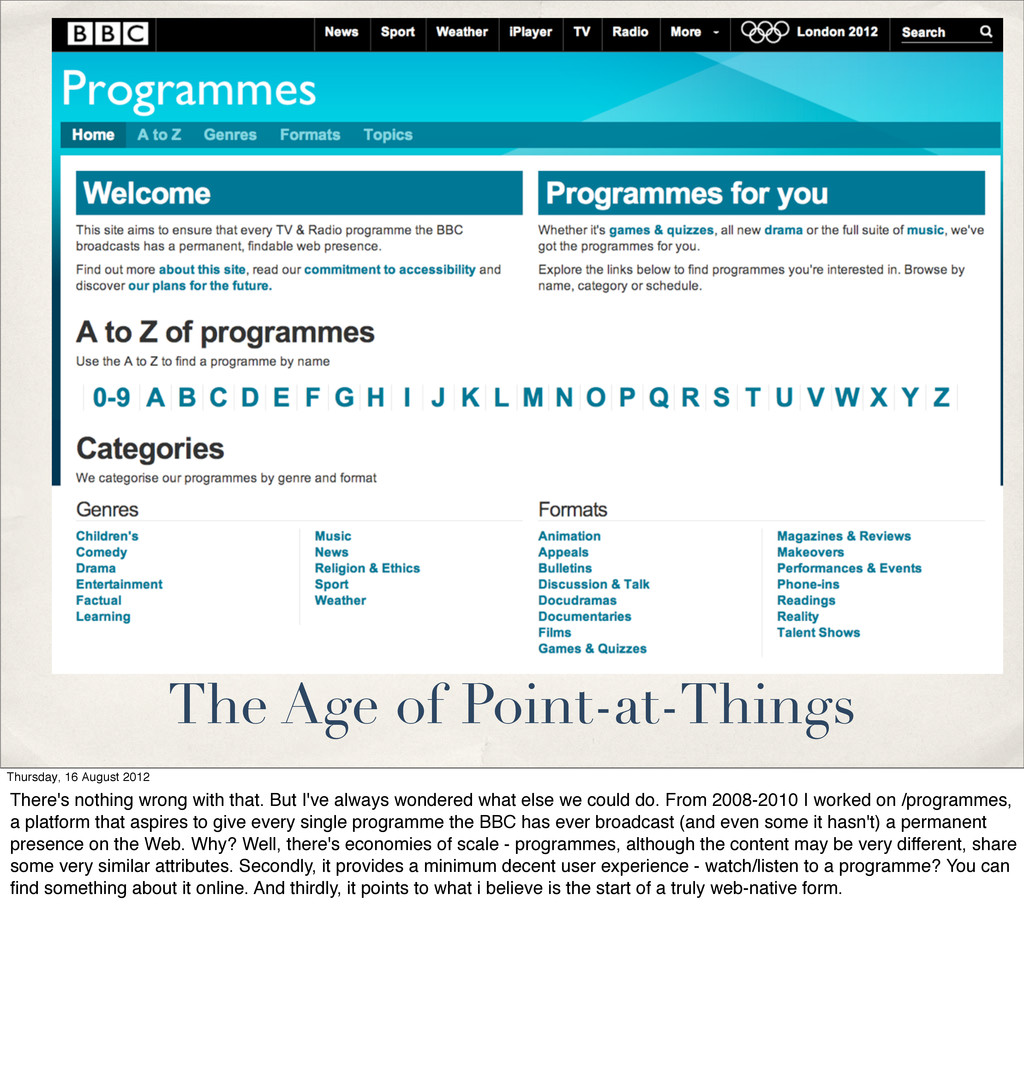 The Age of Point-at-Things Thursday, 16 August ...