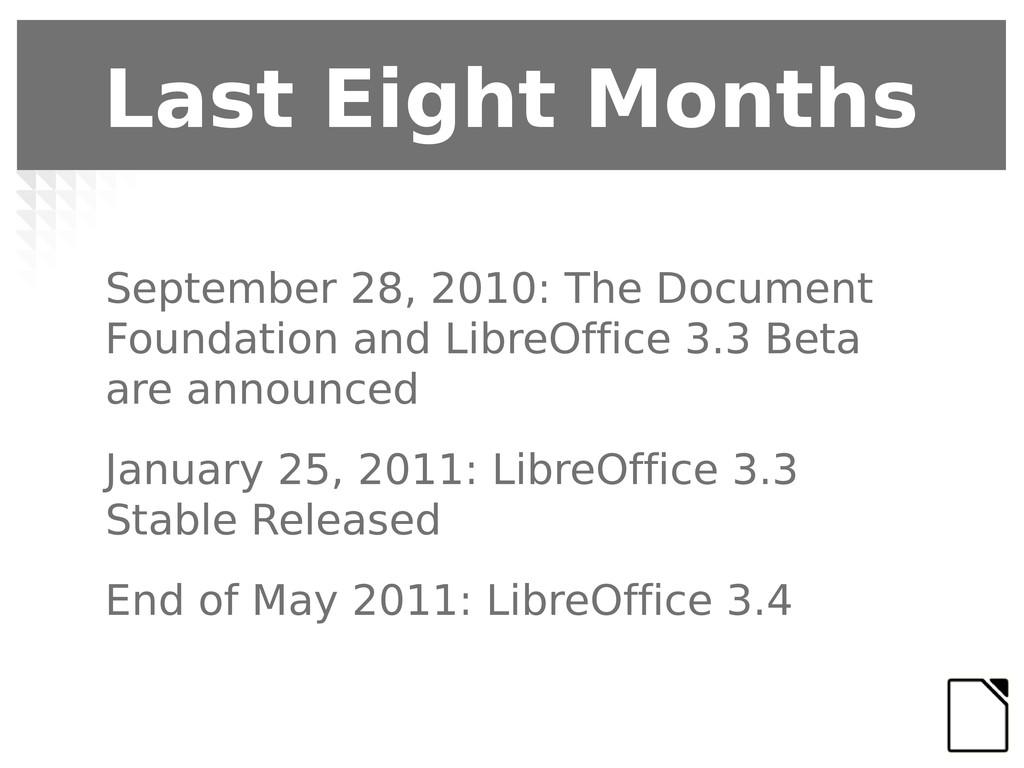 Last Eight Months September 28, 2010: The Docum...