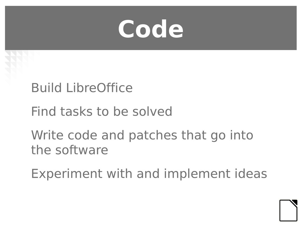 Build LibreOffice Find tasks to be solved Write...