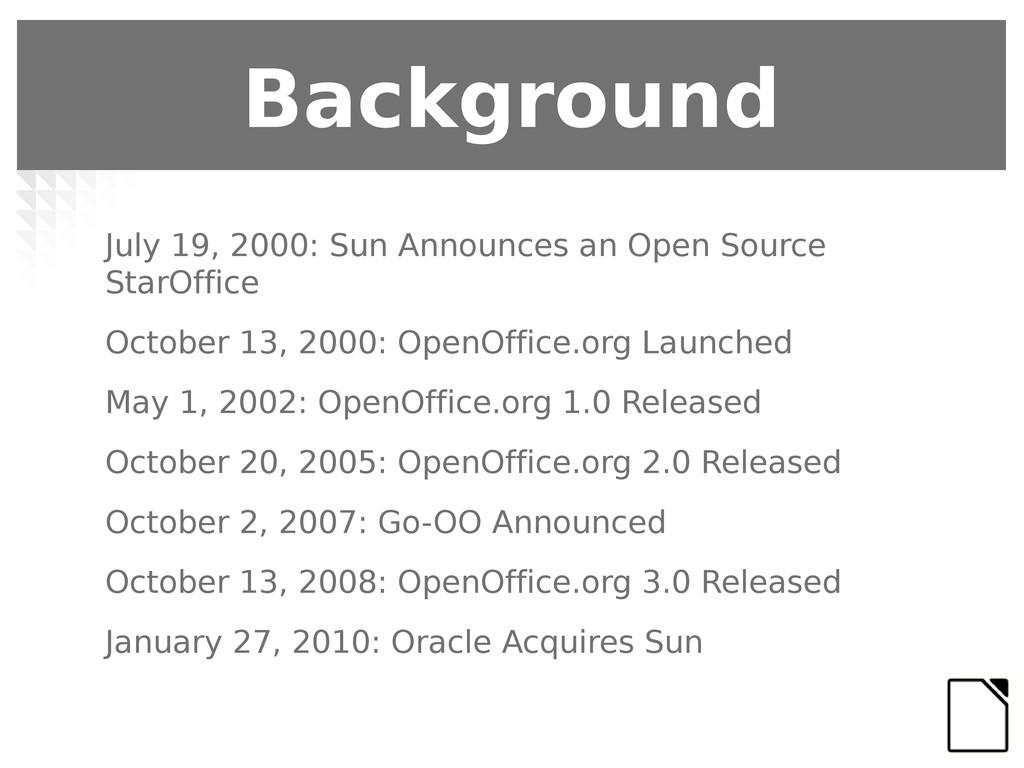 Background July 19, 2000: Sun Announces an Open...