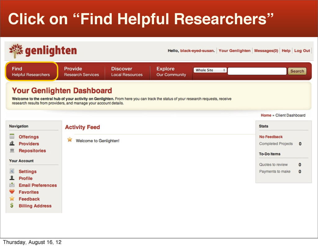 """Click on """"Find Helpful Researchers"""" Thursday, A..."""