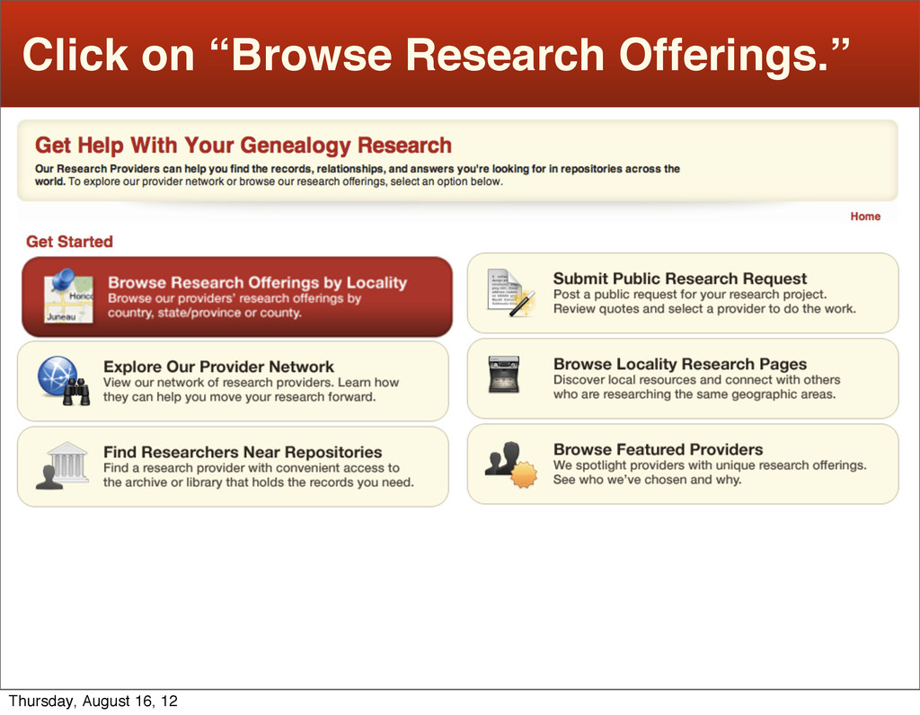 """Click on """"Browse Research Offerings."""" Thursday,..."""