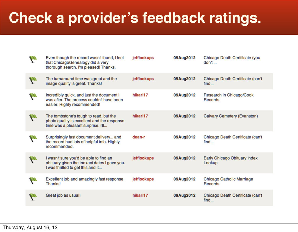 Check a provider's feedback ratings. Thursday, ...