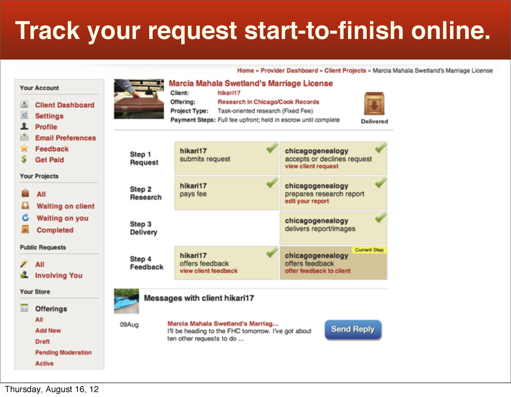 Track your request start-to-finish online. Thurs...