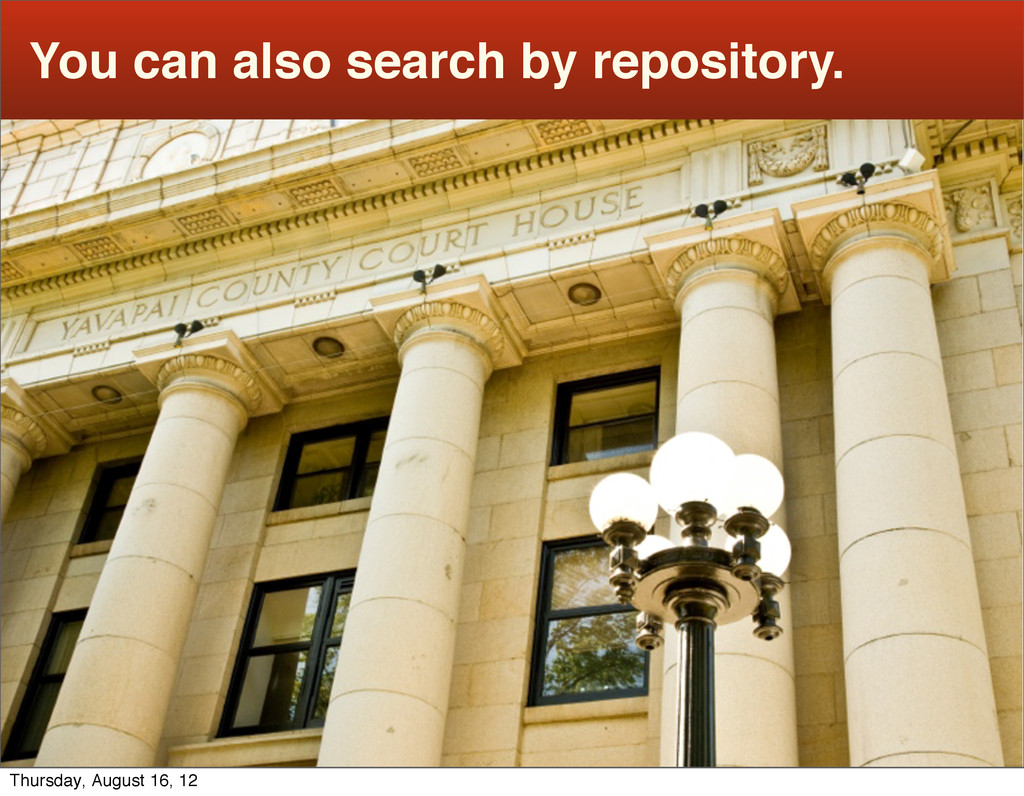 You can also search by repository. Thursday, Au...