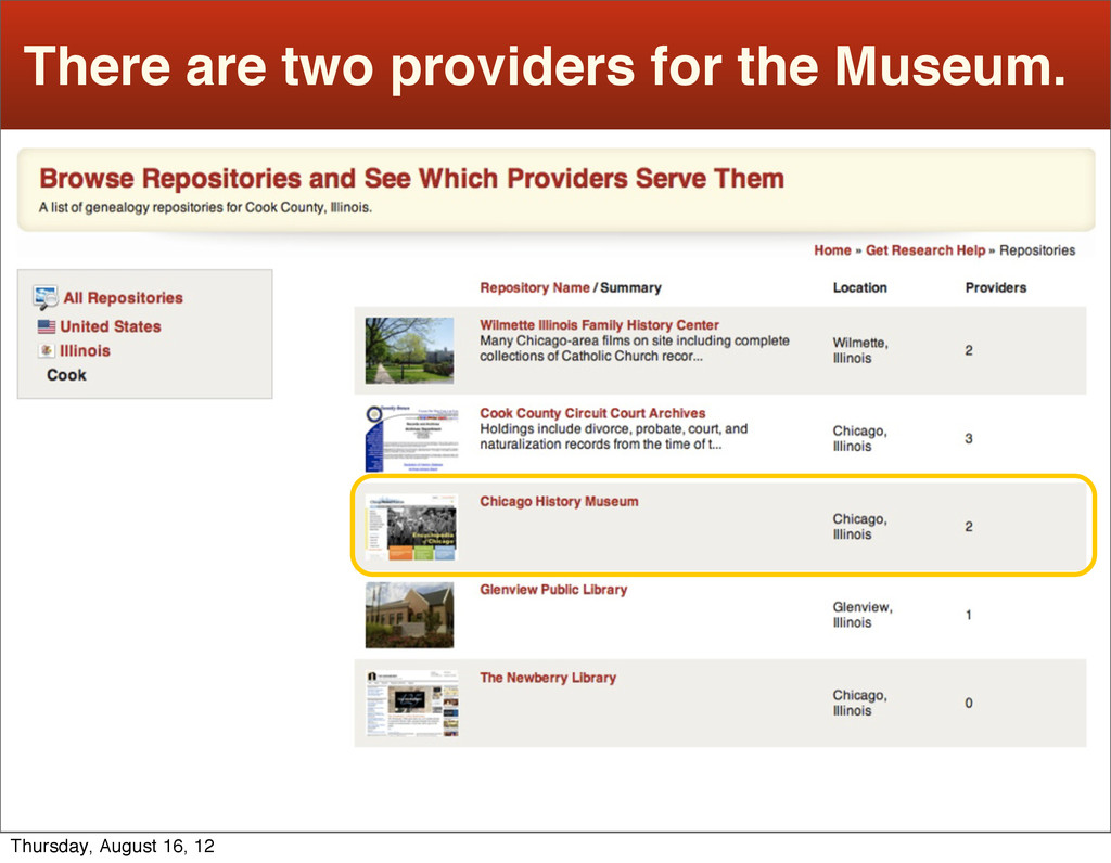 There are two providers for the Museum. Thursda...