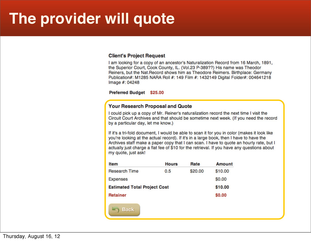The provider will quote Thursday, August 16, 12