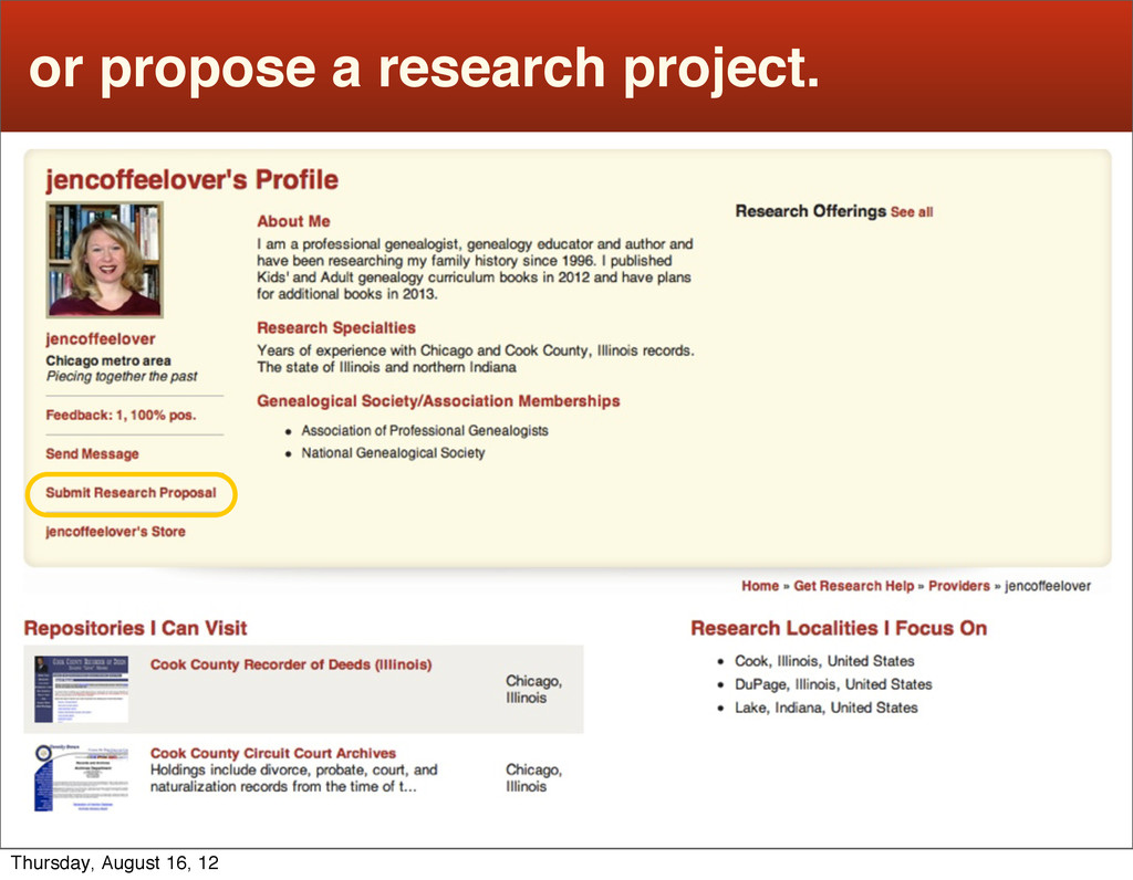 or propose a research project. Thursday, August...