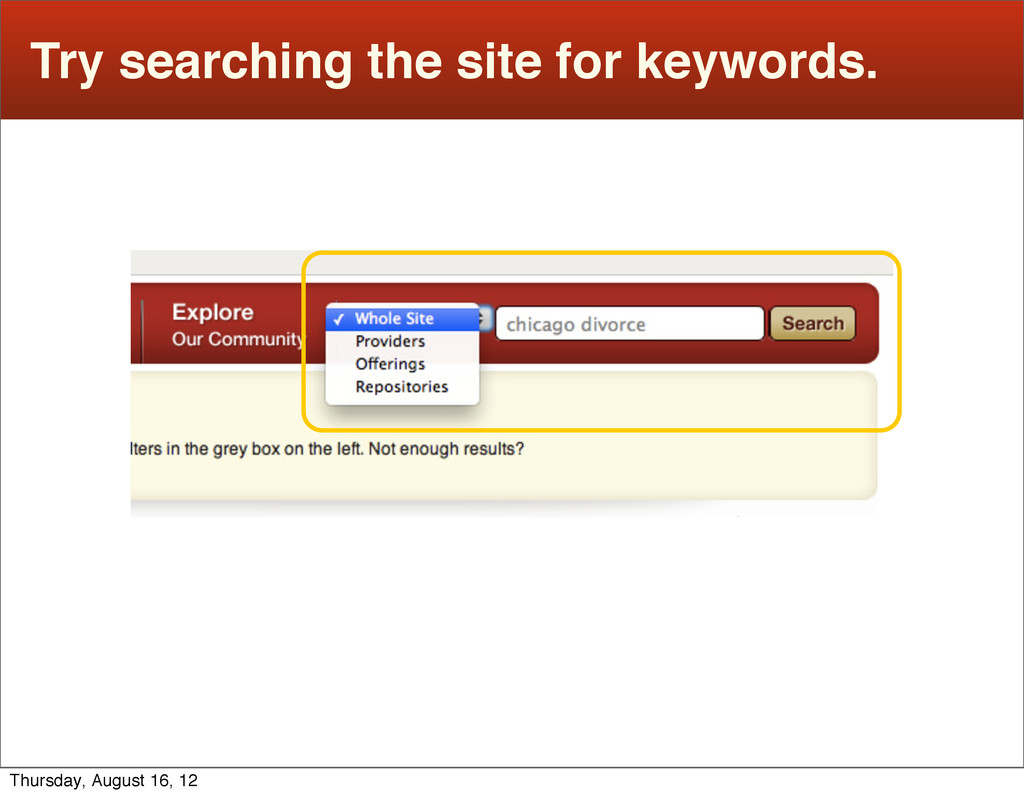 Try searching the site for keywords. Thursday, ...
