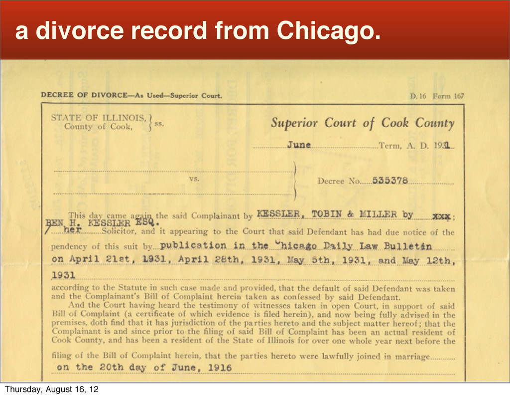 a divorce record from Chicago. Thursday, August...
