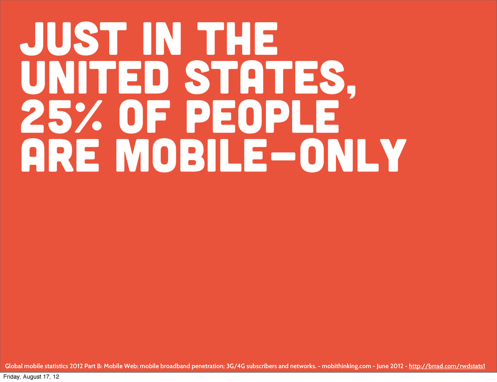 Just in the united states, 25% of people are mo...