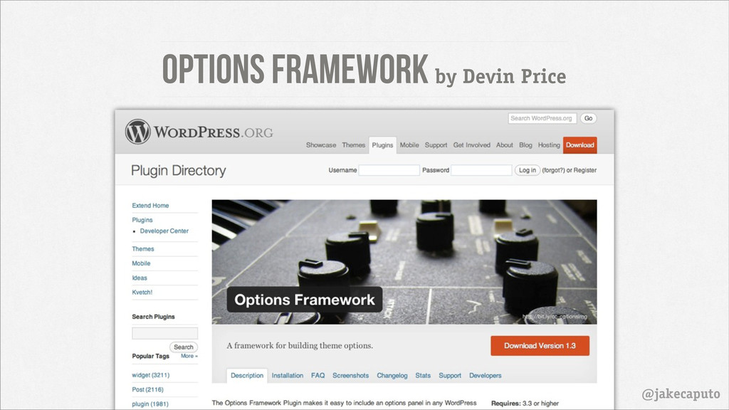 Options framework by Devin Price @jakecaputo