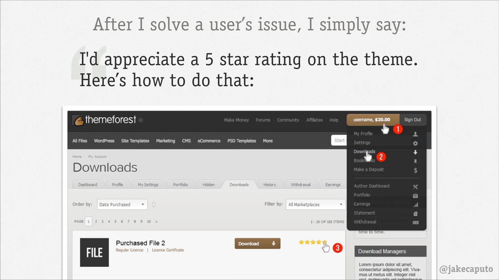 """@jakecaputo """" After I solve a user's issue, I s..."""