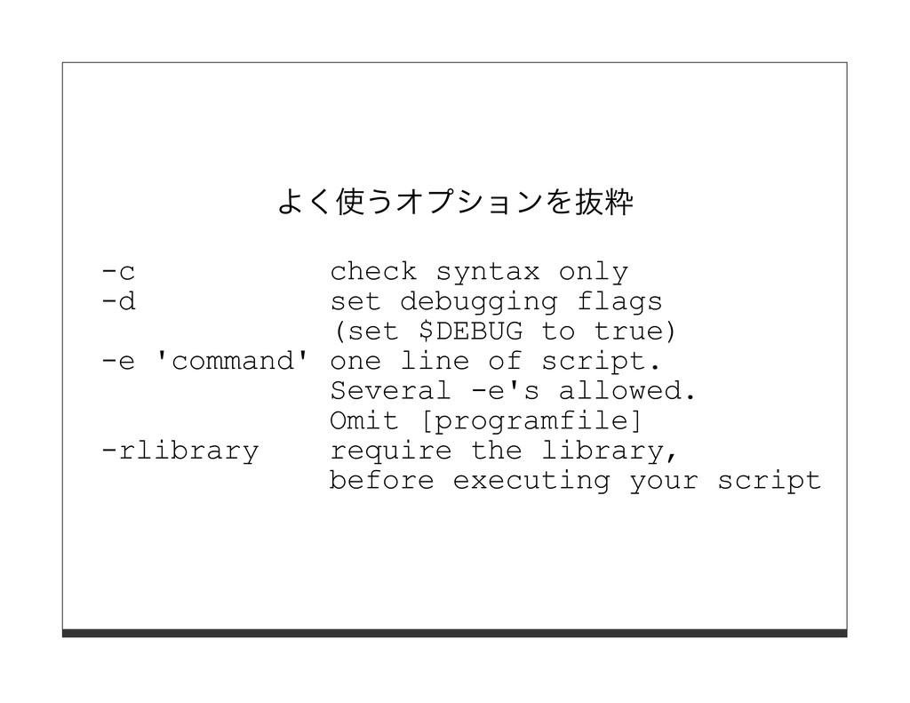 よく使うオプションを抜粋 -c check syntax only -d set debugg...