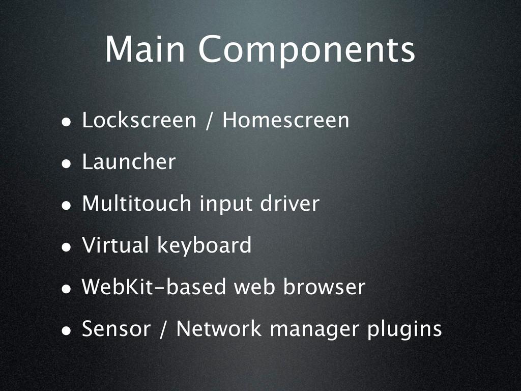 Main Components • Lockscreen / Homescreen • Lau...