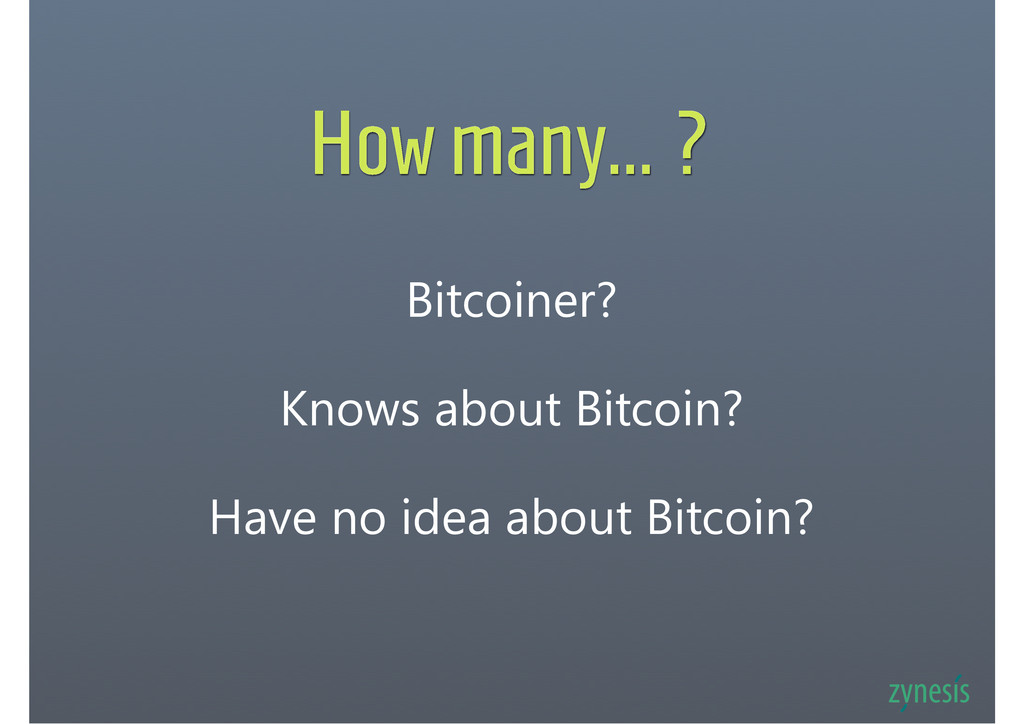 How many... ? Bitcoiner? Knows about Bitcoin? H...