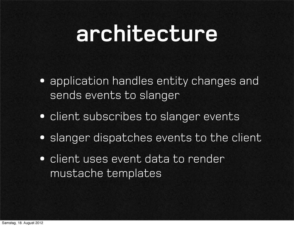 architecture •application handles entity change...