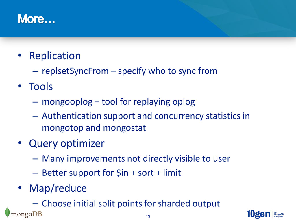 13 • Replication – replsetSyncFrom – specify wh...