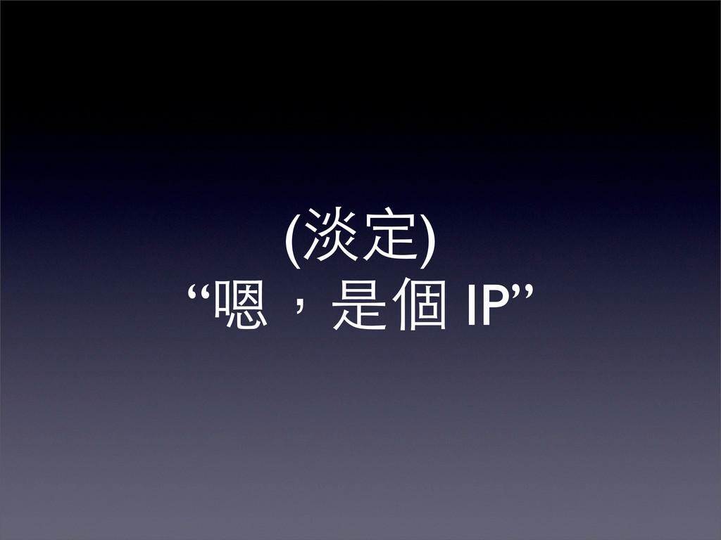 """(淡定) """"嗯,是個 IP"""""""