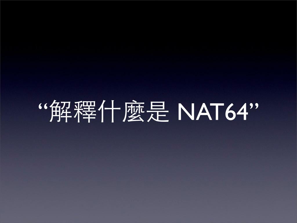 """""""解釋什麼是 NAT64"""""""