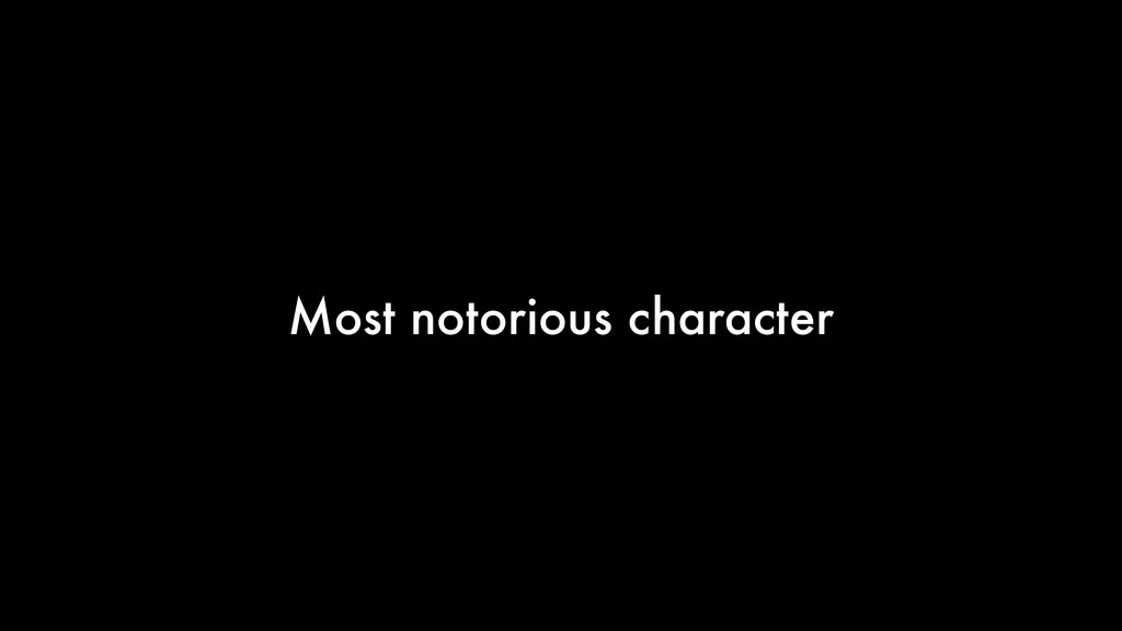 Most notorious character