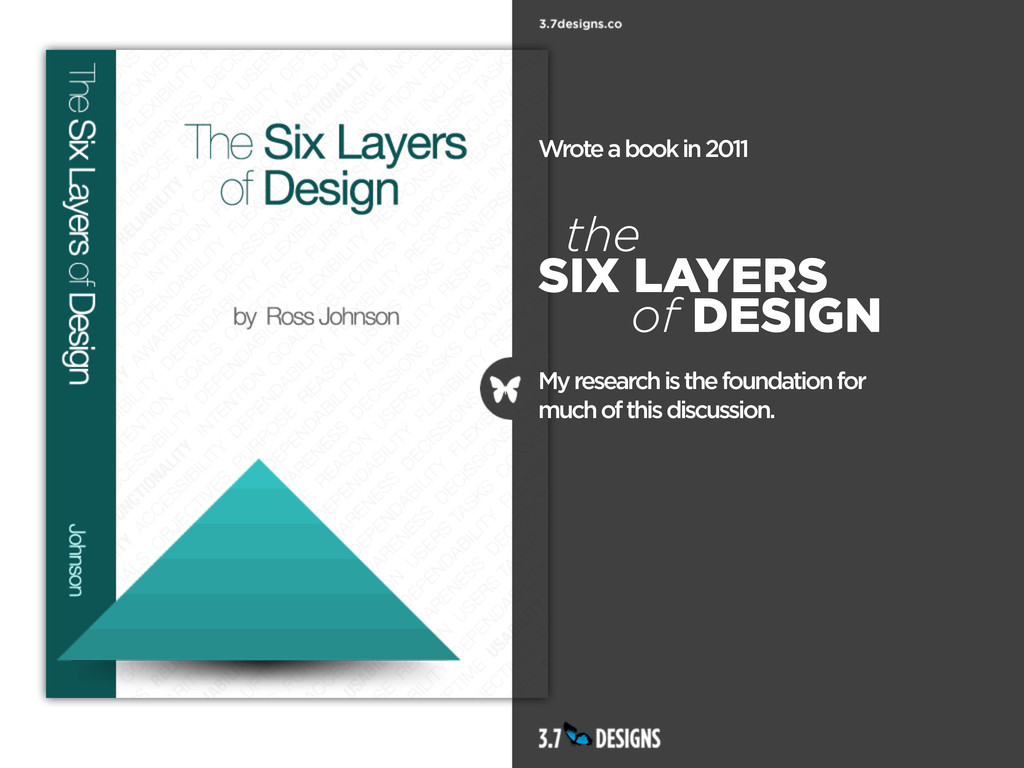 Wrote a book in 2011 the SIX LAYERS of DESIGN M...