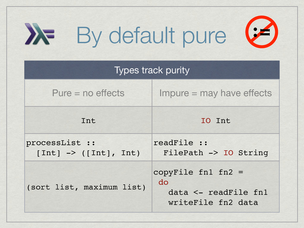 By default pure := Types track purity Pure = no...