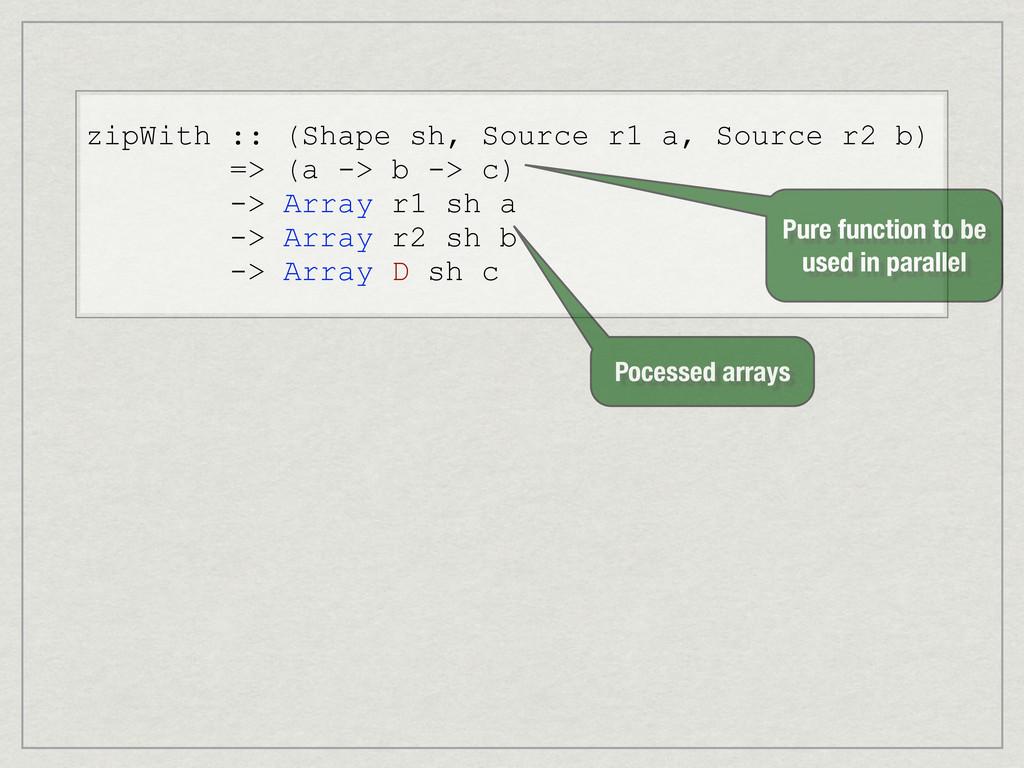 zipWith :: (Shape sh, Source r1 a, Source r2 b)...