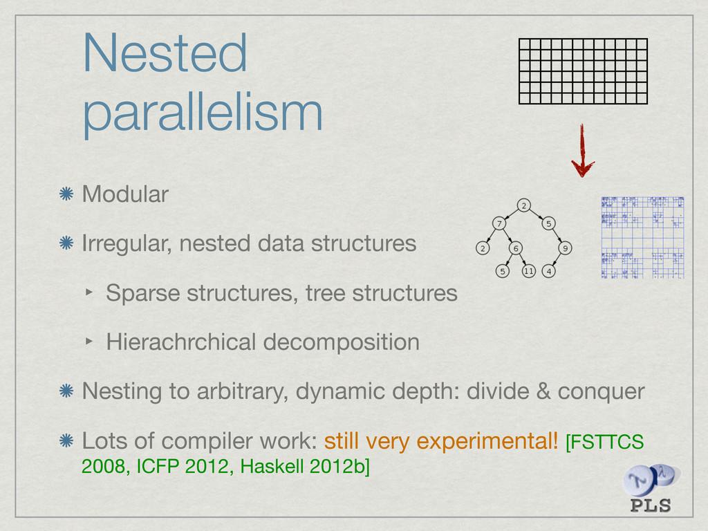 Nested parallelism Modular Irregular, nested da...