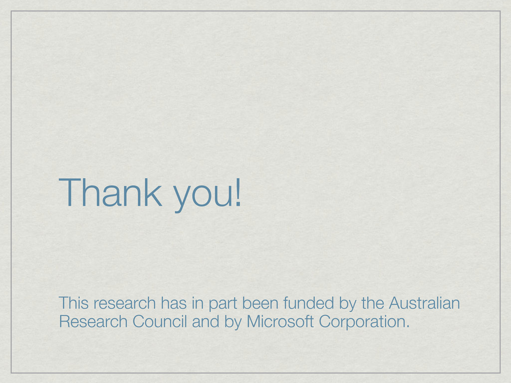 Thank you! This research has in part been funde...
