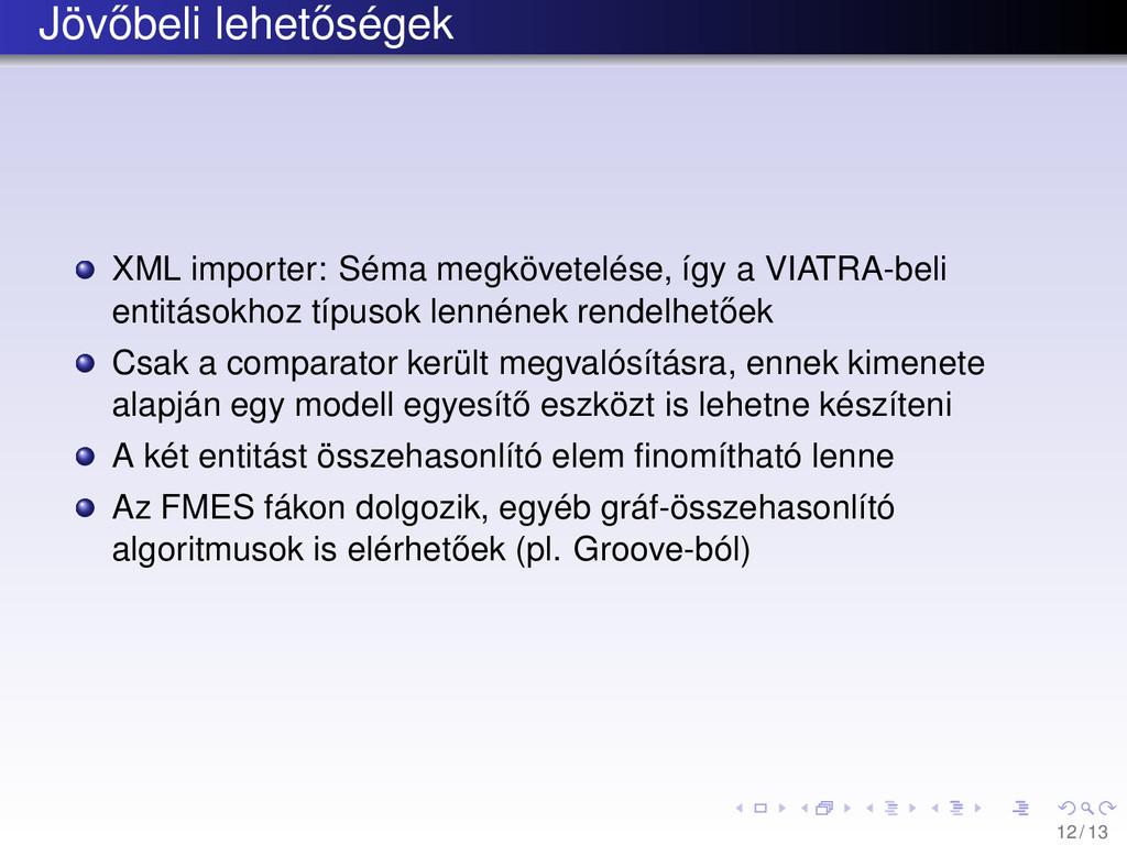 Jöv˝ obeli lehet˝ oségek XML importer: Séma meg...