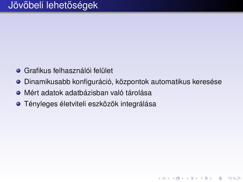 Jöv˝ obeli lehet˝ oségek Grafikus felhasználói f...