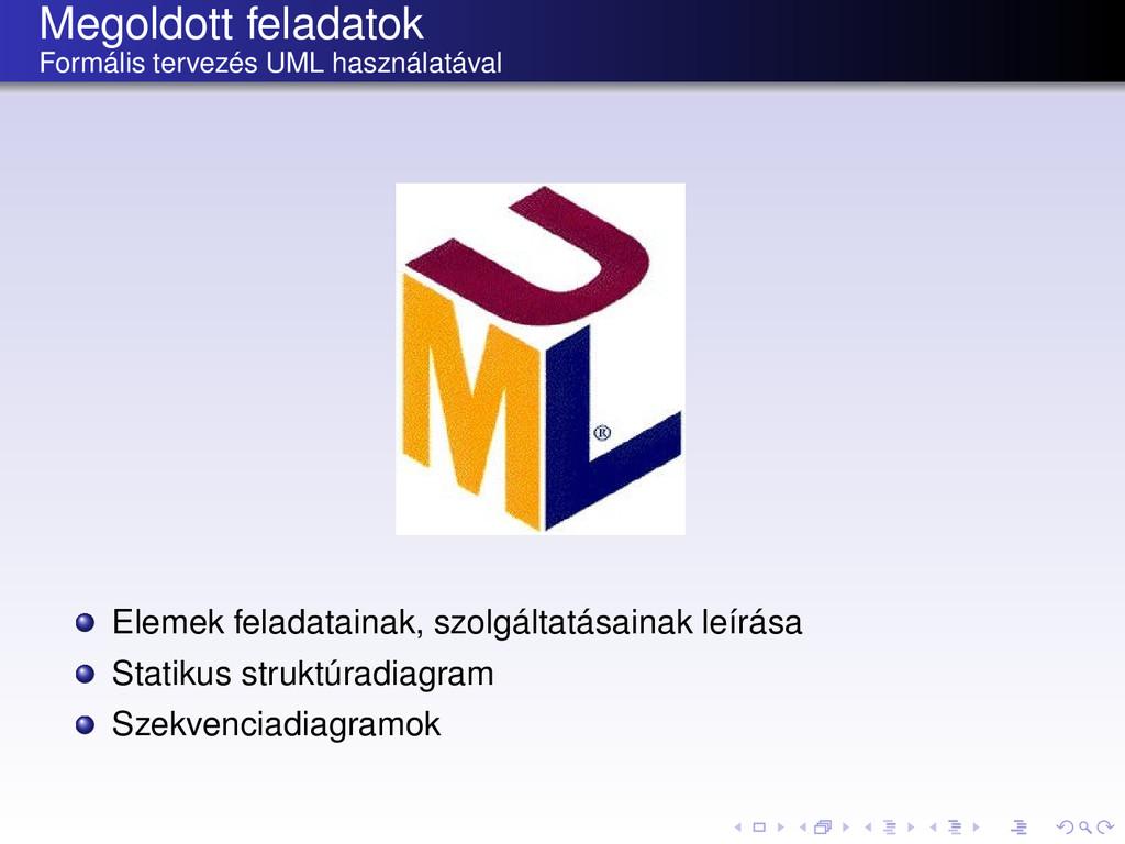 Megoldott feladatok Formális tervezés UML haszn...