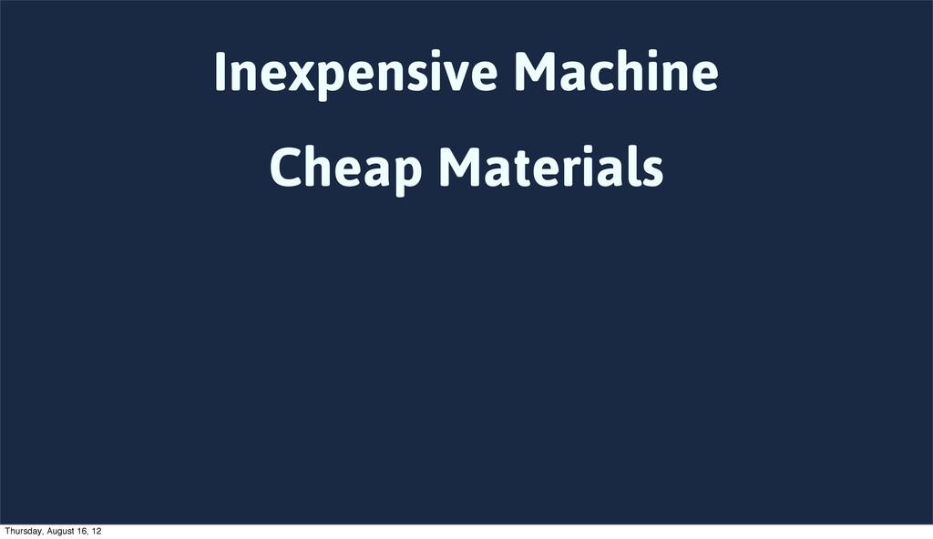Inexpensive Machine Cheap Materials Thursday, A...
