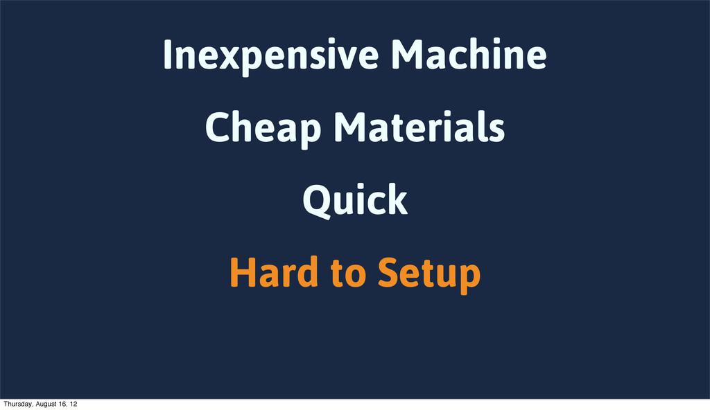 Inexpensive Machine Cheap Materials Quick Hard ...