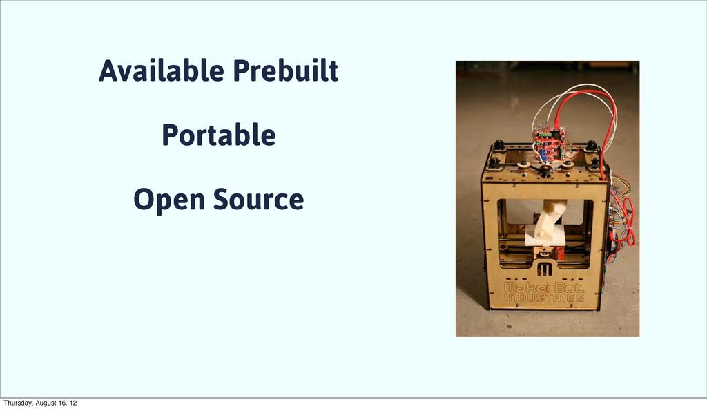 Available Prebuilt Portable Open Source Thursda...