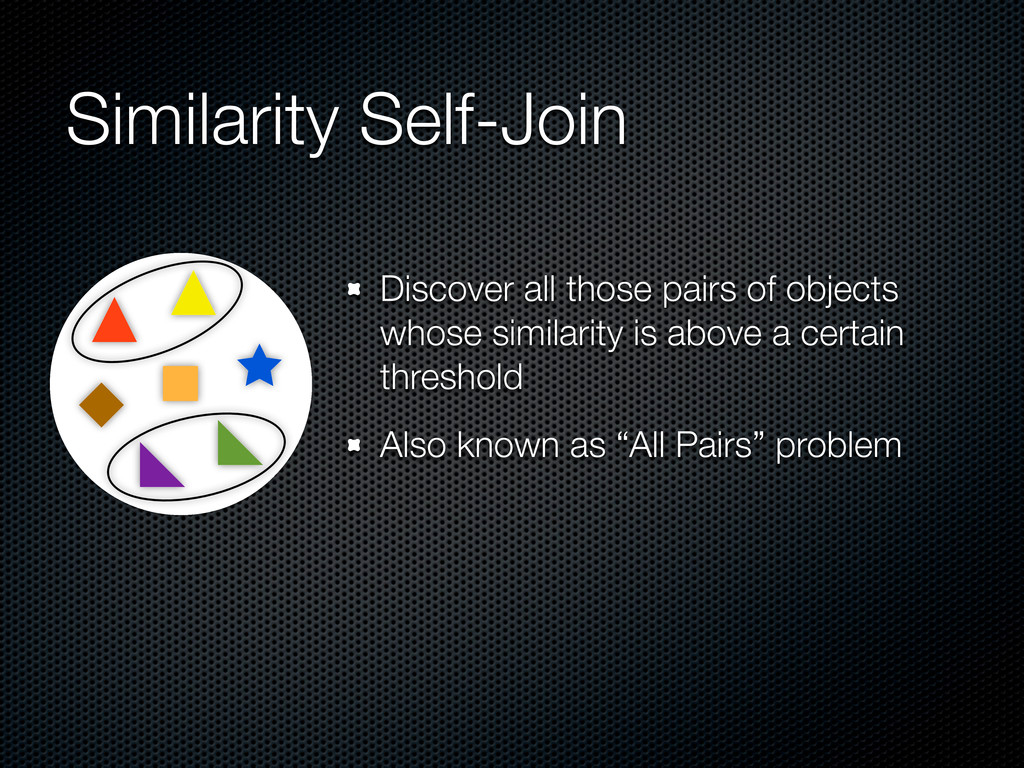 Similarity Self-Join Discover all those pairs o...