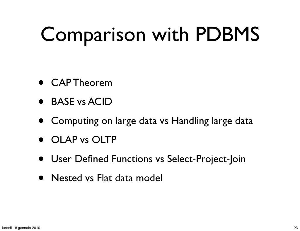Comparison with PDBMS • CAP Theorem • BASE vs A...