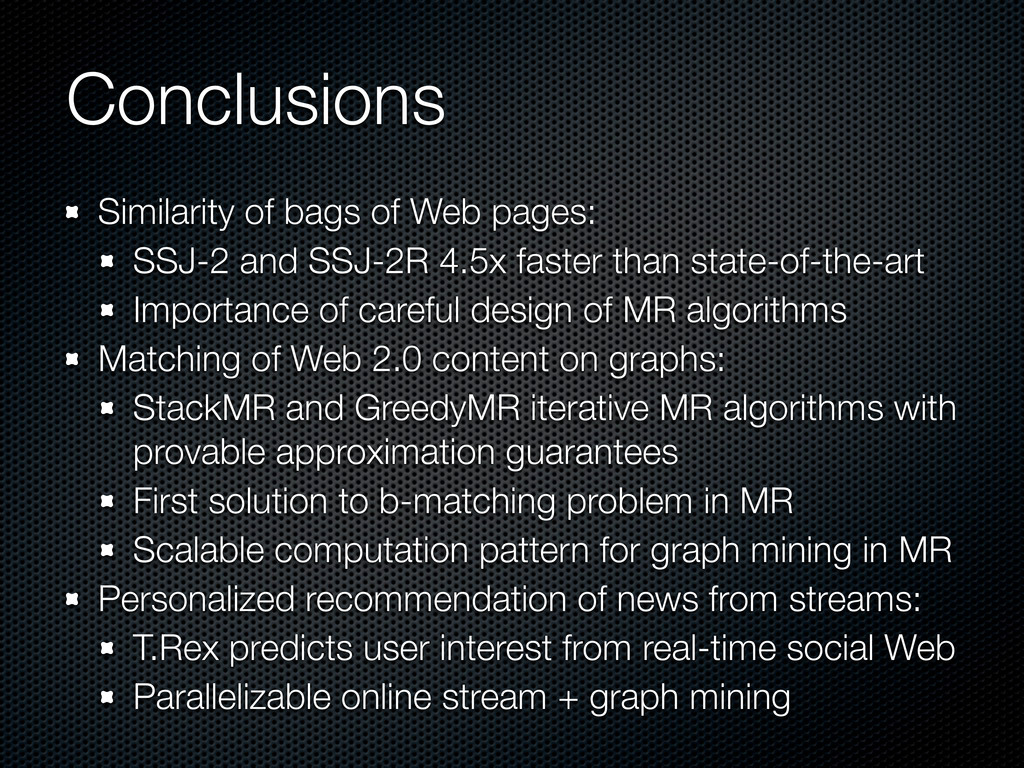 Conclusions Similarity of bags of Web pages: SS...