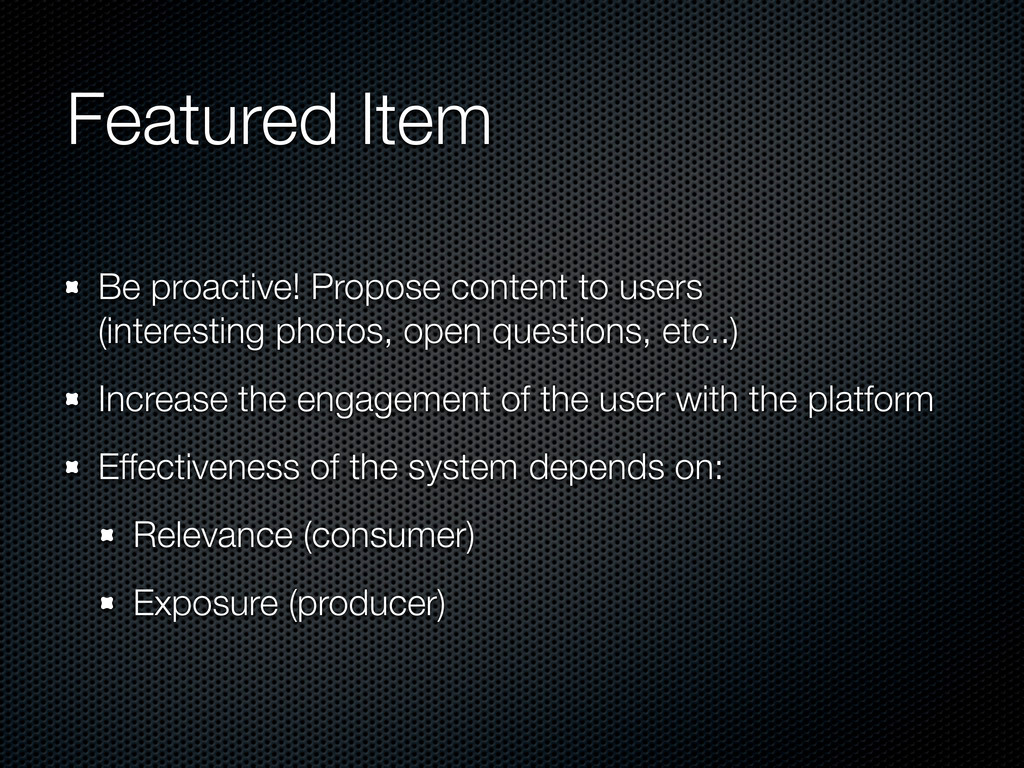 Featured Item Be proactive! Propose content to ...