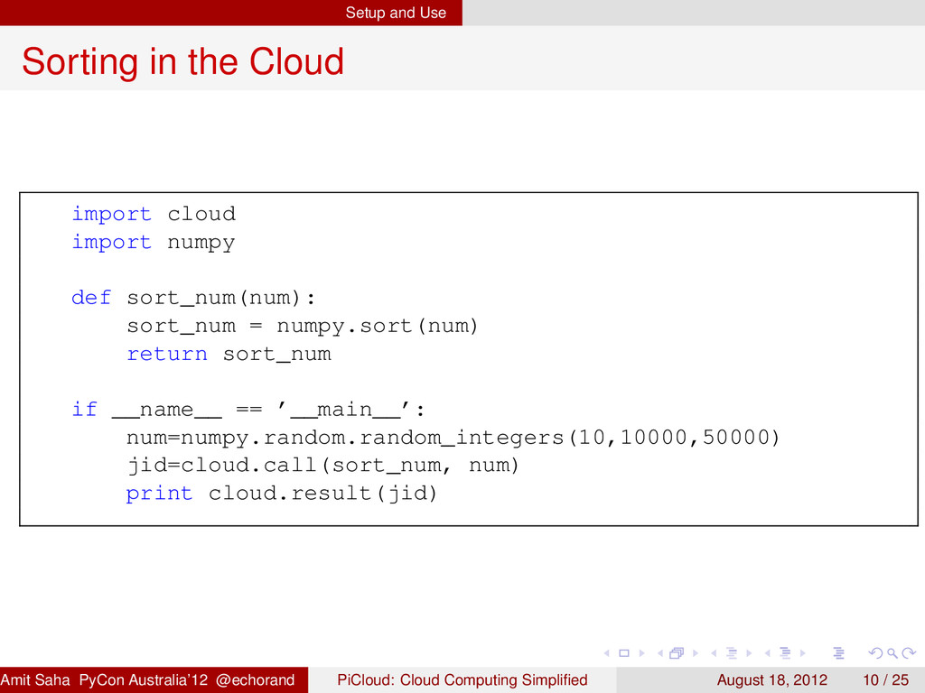Setup and Use Sorting in the Cloud import cloud...