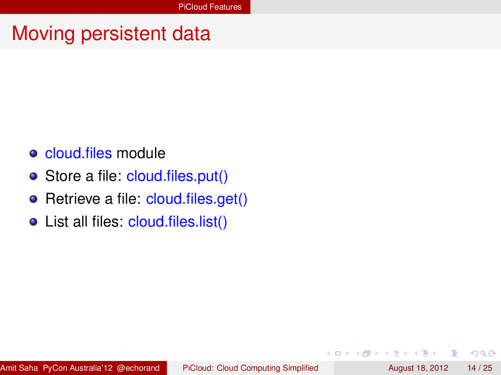PiCloud Features Moving persistent data cloud.fi...