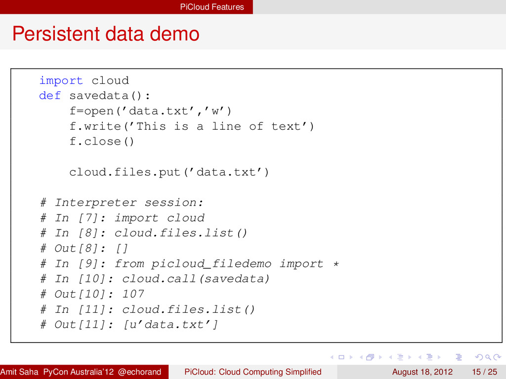 PiCloud Features Persistent data demo import cl...