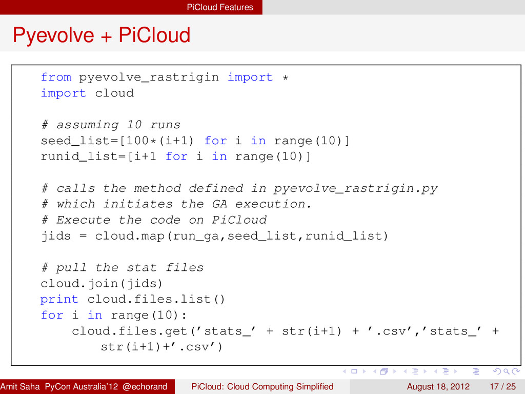 PiCloud Features Pyevolve + PiCloud from pyevol...